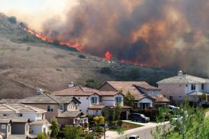 Wildfires by homes